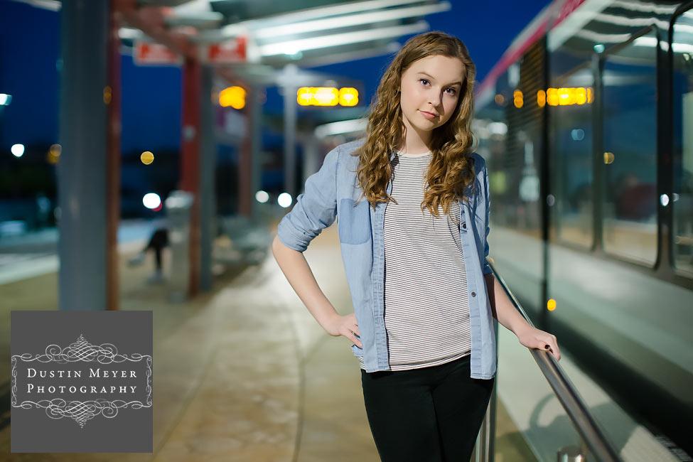 unique senior portraits ideas blonde curly hair blue eyes fashion urban train photos photography